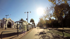 POV driving city suburbs vehicle sun flare traffic San Francisco USA - stock footage