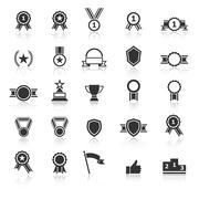 award icons with reflect on white background - stock illustration