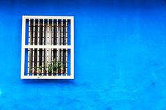 blue colonial wall - stock photo