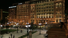 People Walking Syntagma Square at Night Stock Footage