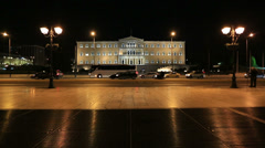 Time Lapse Parliament Building Capital Cities Athens at Night - stock footage