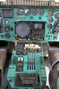 Airplane cockpit thrust levers with hand on top for takeoff, tu-144. Stock Photos