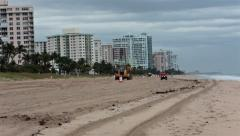 Storm damage to sand on beach repair Florida HD 2296 Stock Footage