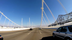 POV road trip New Bay Bridge Old Bay Bridge Interstate 80 San Francisco USA - stock footage