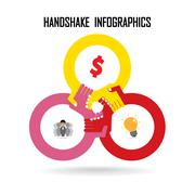 handshake abstract sign - stock illustration