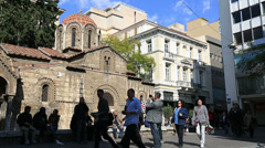 Church and little Square Athens 2 Stock Footage