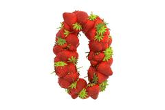 Strawberry symbol 0 - stock illustration