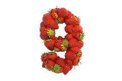 Strawberry symbol 9 - stock illustration