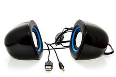 isolated small loudspeakers . - stock photo