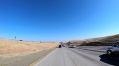 Time lapse POV road trip rural environment vehicle blue sky California USA - stock footage