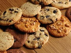cookies over wooden background - stock photo