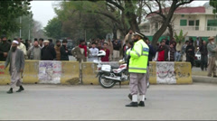 Police Block Road leading to Scene of Terrorist Attack in Islamabad, Pakistan Stock Footage