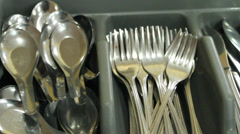 Knives, spoons, forks, chopsticks Stock Footage