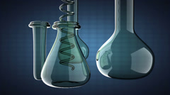 Loop Laboratory glassware on blue background Stock Footage