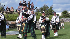 Stock Video Footage of Bermuda Pipe Band Marching 2