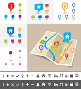 Vector folded city map with gps pin icons and markers - stock illustration