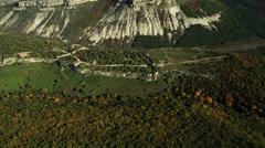 Aerial View: Mountain plateau of Burunchak, near Bakhchisaray. Crimea Stock Footage