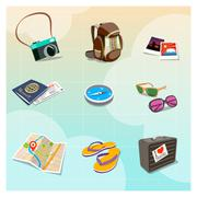 Vector travel clipart - stock illustration