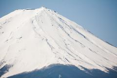 zoom of the top of mount fuji from japan - stock photo