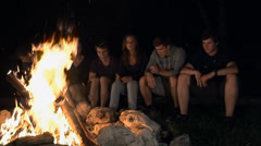Group of young people is talking and adoring open fire - stock footage