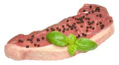 Raw Sirloin Steak And Pepper Corns - stock photo