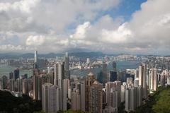 hong kong cityscape at noon - stock photo