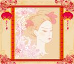 Stock Illustration of abstract beautiful geisha portrait