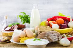 composition food products table - stock photo
