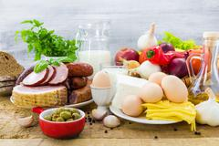 composition grocery products dairy vegetables fruits meat - stock photo