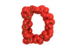 Tomato letter D on white background - stock illustration