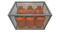 Steel cage with gas bottles Stock Illustration