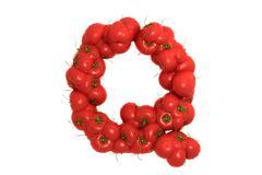 Stock Illustration of Tomato letter Q on white background