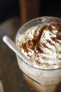 closeup of an inviting chocolate drink or dessert - stock photo