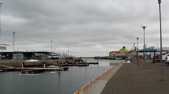 A port area with lots of establishment around Stock Footage