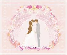 Elegant wedding invitation with wedding couple Stock Illustration