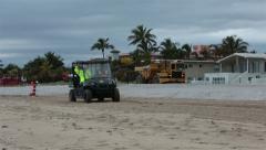 Florida beach repair storm damaged sand equipment HD 2294 Stock Footage