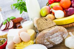 miscellaneous food dairy products  bread meat - stock photo