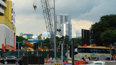 Asia Singapore downtown metro MRT Roadworks construction site Stock Footage