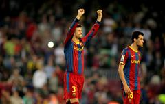 Gerard Pique of FC Barcelona celebrates goal - stock photo