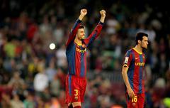 Gerard Pique of FC Barcelona celebrates goal Stock Photos