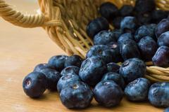 blueberry with basket - stock photo