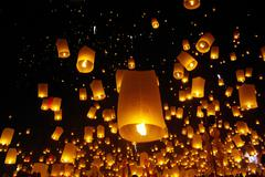 Balloon fire/ yeepeng in north thailand / chiangmai Stock Photos