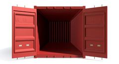 shipping container red open empty - stock illustration