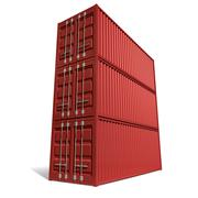 shipping container red stack - stock illustration