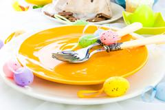 tableware one person easter table - stock photo