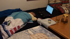 Working area at home with sleeping baby Stock Footage