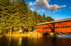 evening light on sach's covered bridge in gettysburg, pennsylvania. - stock photo