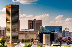 Stock Photo of view of the skyline from federal hill in baltimore, maryland.