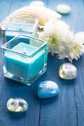 Zen stones aromatic candles wooden background Stock Photos