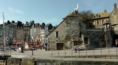 Europe France Normandy fishing village of Honfleur 005 old building at harbor Stock Footage